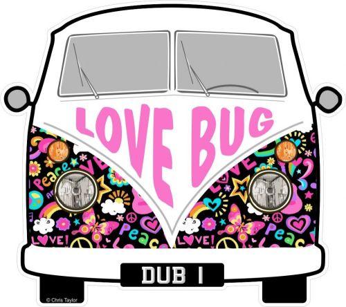 small resolution of love bug hippy slogan for retro split screen vw camper van bus design external vinyl car sticker 90x80mm